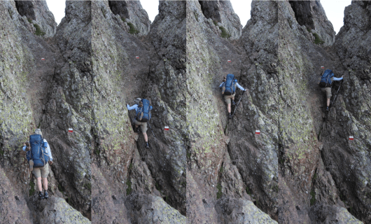 Composite photo of Emily scrambling on State 2