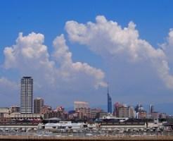 福岡市、街、町、空