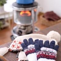 冬、暖房、手袋、ストーブ
