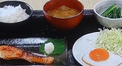 朝食、鮭、みそ汁