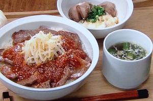 【男子ごはん】牛カルビ丼のオレンジソースがけのレシピ!スタミナ定食