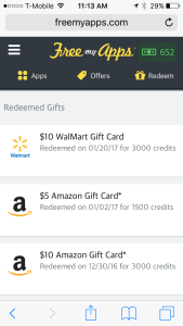 Gift Cards Redeemed on FreeMyApps iOS