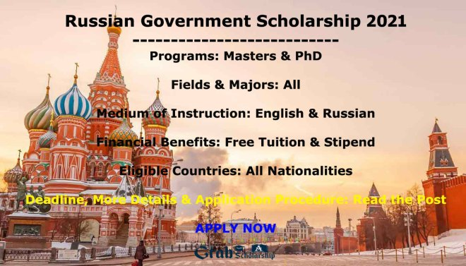 Russian Government Scholarship 2021