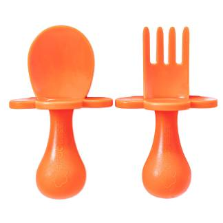 baby cutlery baby fork spoon set orange