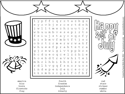 Free 4th of July printable and word search