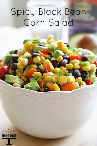 This Spicy Black Bean Corn Salad is a perfect side for a Tex-Mex meal, or a delicious dip as a pre-dinner or party appetizer.  Serve it with your favorite tortilla chips and you have a fresh dish that's packed with flavor.