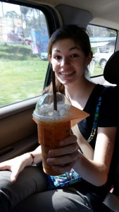 Emma has tried every thing put in front of her and has liked most of it.  This traditional Thai tea not withstanding.