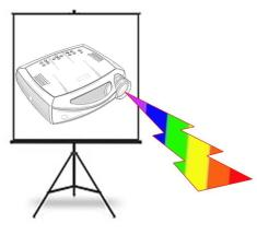 Picture of movie screen with image of a digial projector emitting a rainbow-colored lightning bolt.