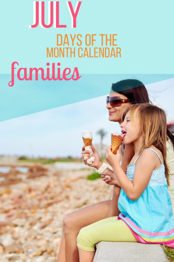 July Days of the Month Calendar for Families