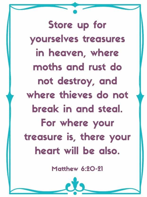 "Bible Memory Verses: ""S"" Matthew 6:20-21"