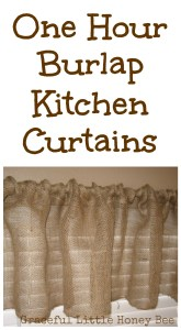 One Hour Burlap Kitchen Curtains on gracefullittlehoneybee.com