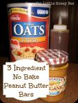 3-Ingredient No-Bake Peanut Butter Bars on gracefullittlehoneybee.com