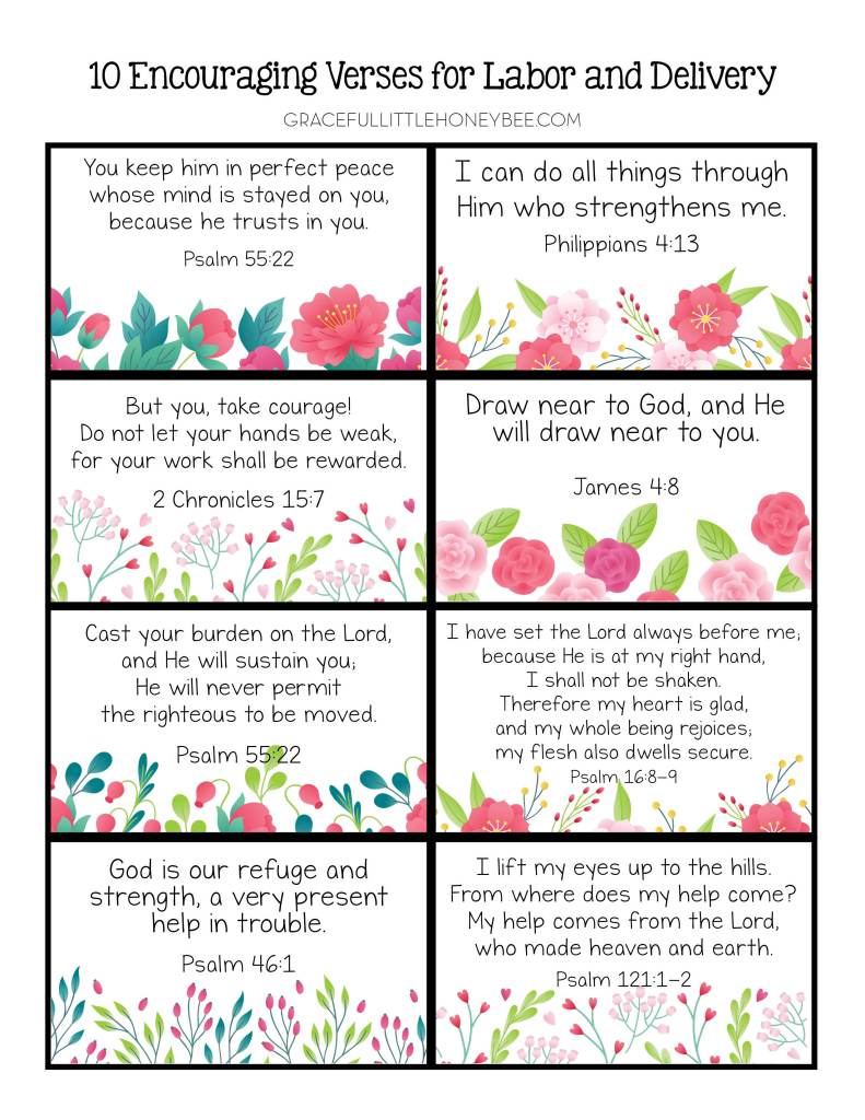 Scripture memory verse cards for labor and delivery.