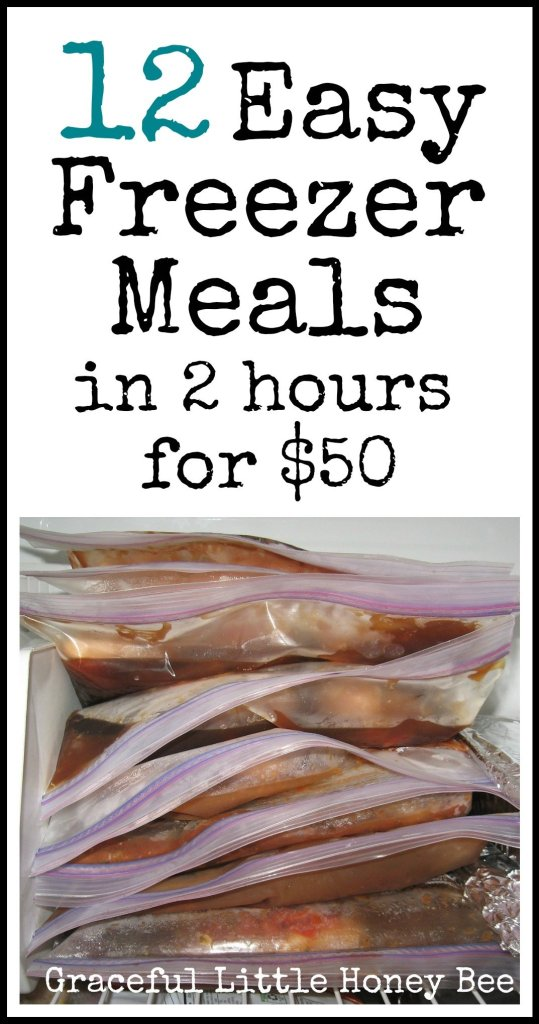 Learn how to make 12 freezer meals in 2 hours for $50! Recipes included!