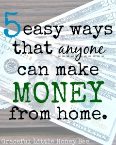 5 Easy Ways that Anyone Can Make Money from Home on gracefullittlehoneybee.com