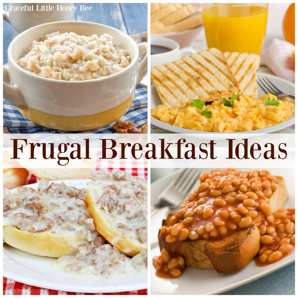 A collage of frugal breakfasts.