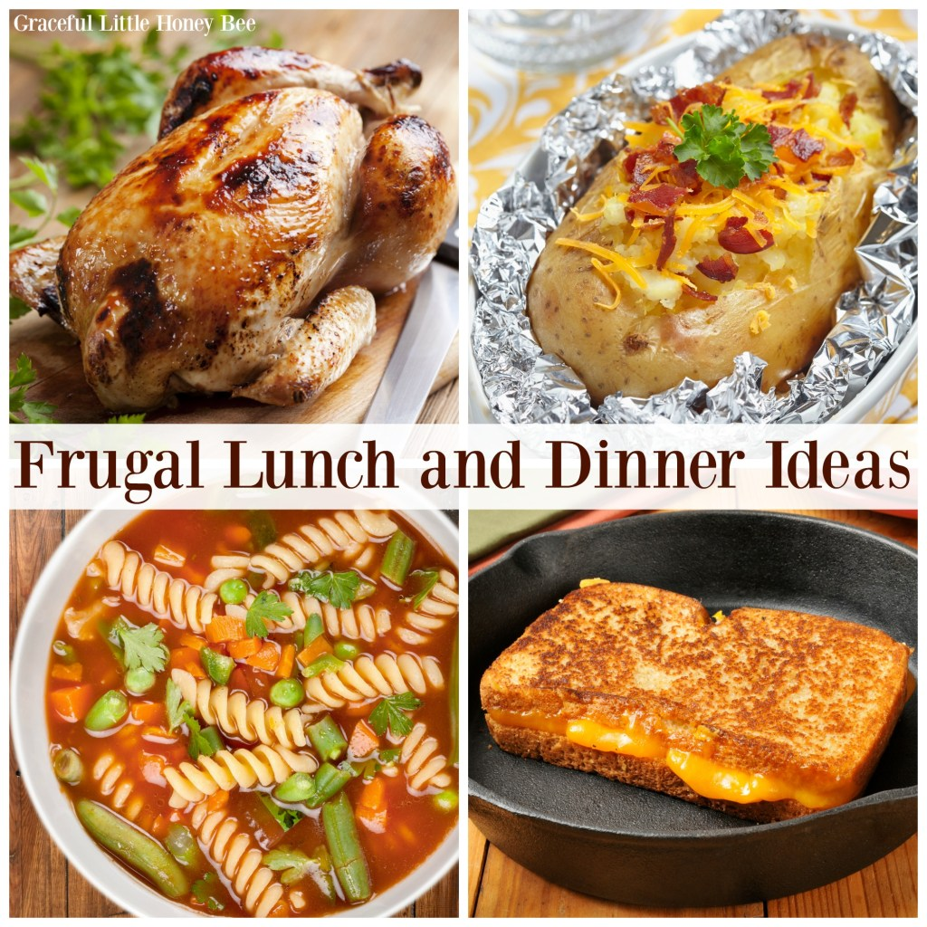 A collage of frugal lunches and dinners.