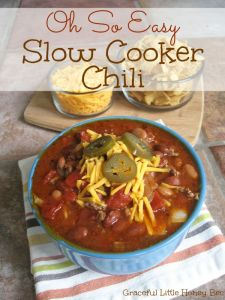 Easy Slow Cooker Chili recipe on gracefullittlehoneybee.com