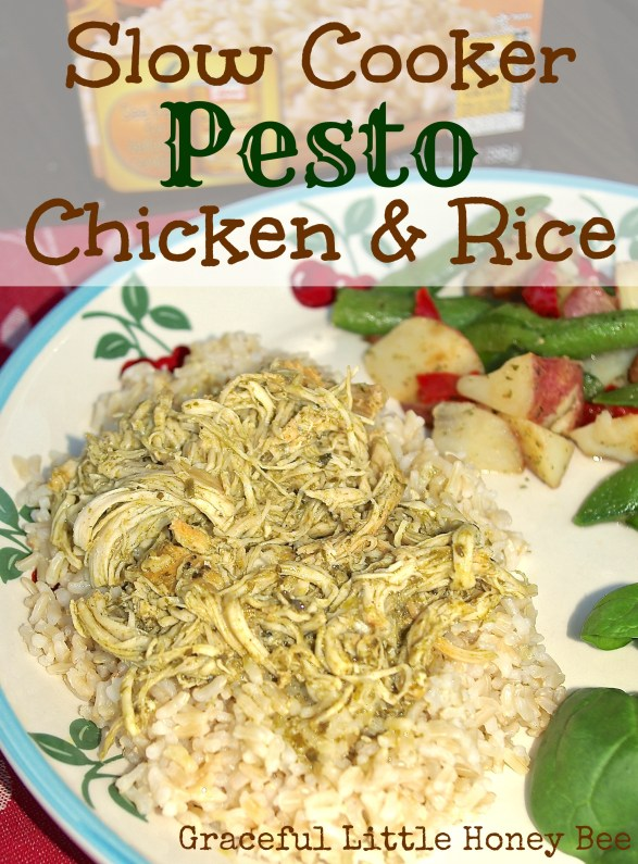 This Slow Cooker Pesto Chicken and Rice is freezer friendly and full of flavor!