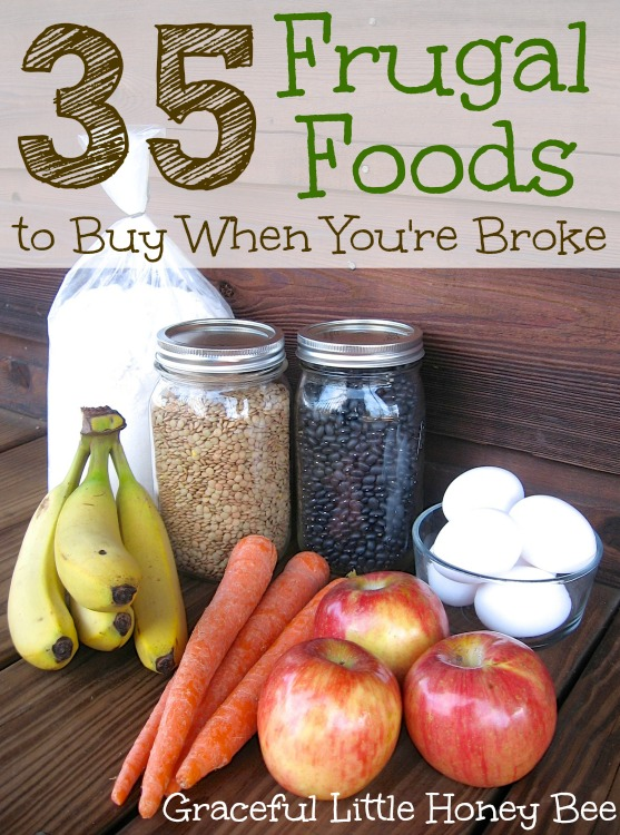 Here are 35 of the most frugal and relatively healthy foods that money can buy. Regularly menu planning around this list will help you to save money and stay within your budget.