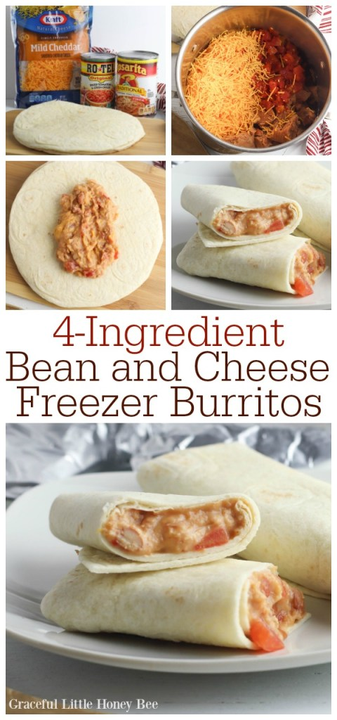 A collage of photos showing how to make bean and cheese freezer burritos.
