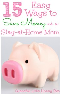 15 Easy Ways to Save Money as a Stay-At-Home Mom on gracefullittlehoneybee.com