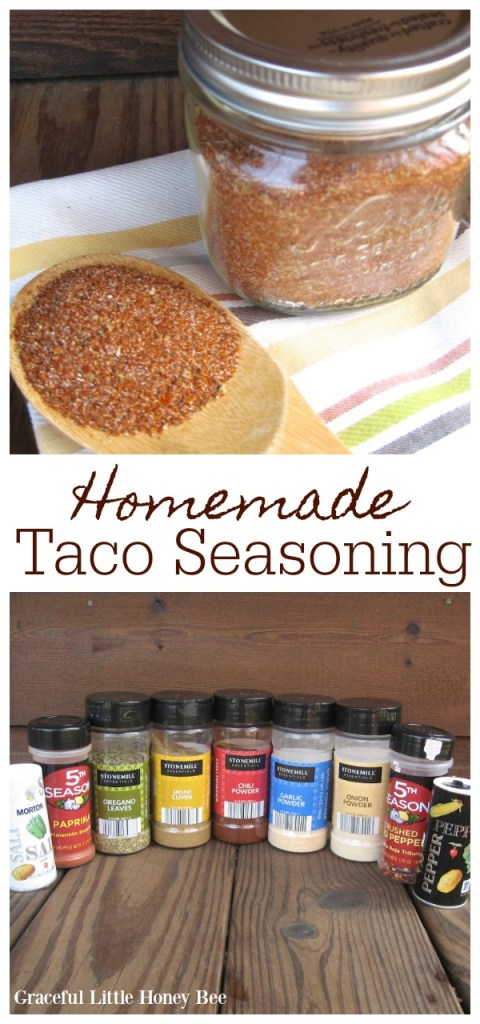 Homemade Taco Seasoning in a mason jar with a wooden spoon.