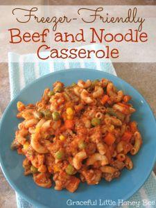 Freezer-Friendly Beef and Noodle Casserole on gracefullittlehoneybee.com