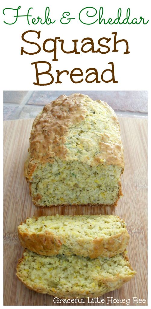 Herb and Cheddar Squash Quick Bread Recipe on gracefullittlehoneybee.com