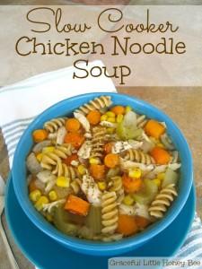 Easy Slow Cooker Chicken Noodle Soup recipe on gracefullittlehoneybee.com