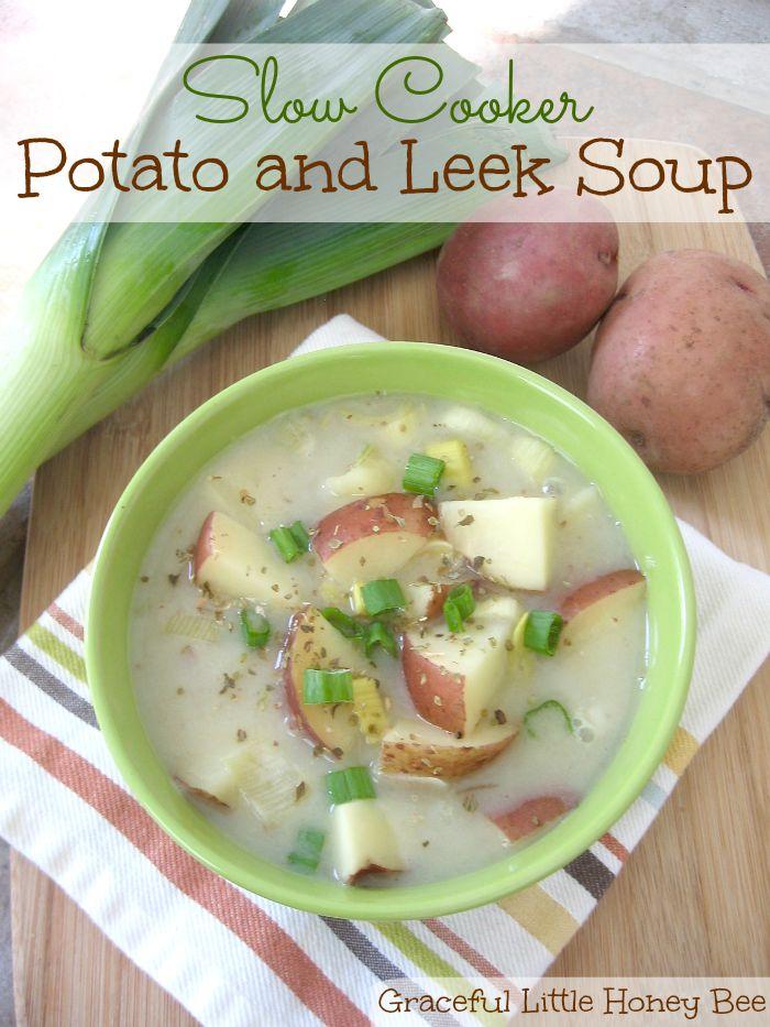 #ad Slow Cooker Potato & Leek Soup #MeatlessMondayNight