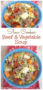 See how to make this easy and delicious Slow Cooker Beef and Vegetable Soup on gracefullittlehoneybee.com