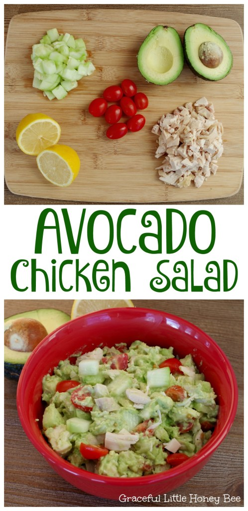 You will LOVE this easy and healthy Avocado Chicken Salad recipe on gracefullittlehoneybee.com