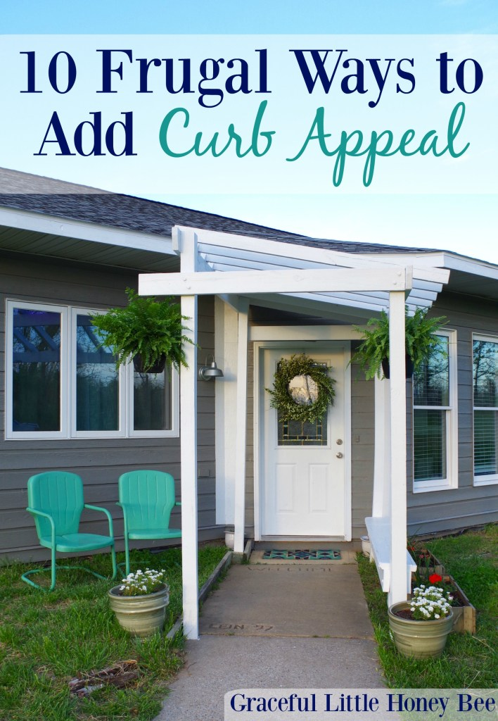 Learn 10 Frugal Ways to Add Curb Appeal including repurposing old items and repainting your door!