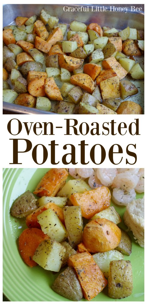 See how easy it is to make these delicous oven-roasted potatoes on gracefullittlehoneybee.com