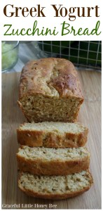 See how to make Greek Yogurt Zucchini Bread for a delicous homemade treat using fresh shredded zucchini on gracefullittlehoneybee.com