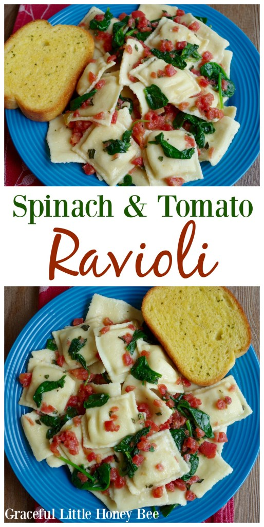 Learn how to make this quick dish that is full of flavor. Find the recipe for Spinach and Tomato Ravioli on gracefullittlehoneybee.com