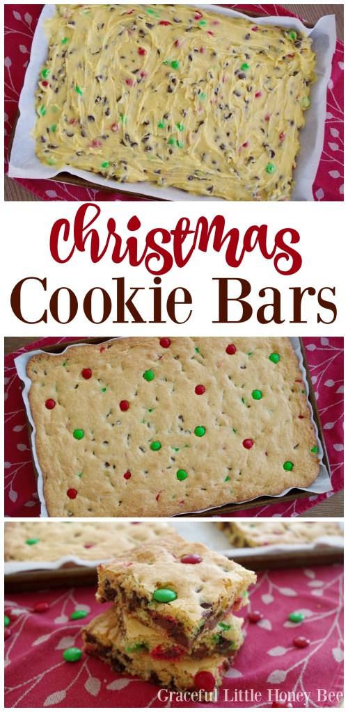 Try these easy and delicious Christmas Cookie Bars for a yummy homemade treat on gracefullittlehoneybee.com!
