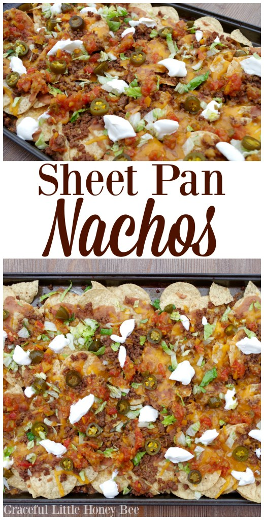 Try these super quick and tasty sheet pan nachos for a fun dinner idea on gracefullittlehoneybee.com