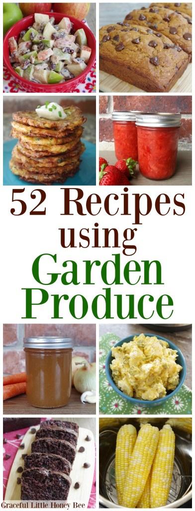 Check out this MEGA list of recipes using garden produce on gracefullittlehoneybee.com