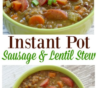 Try this hearty and delicious Instant Pot Sausage and Lentil Stew for a healthy weeknight dinner on gracefullittlehoneybee.com
