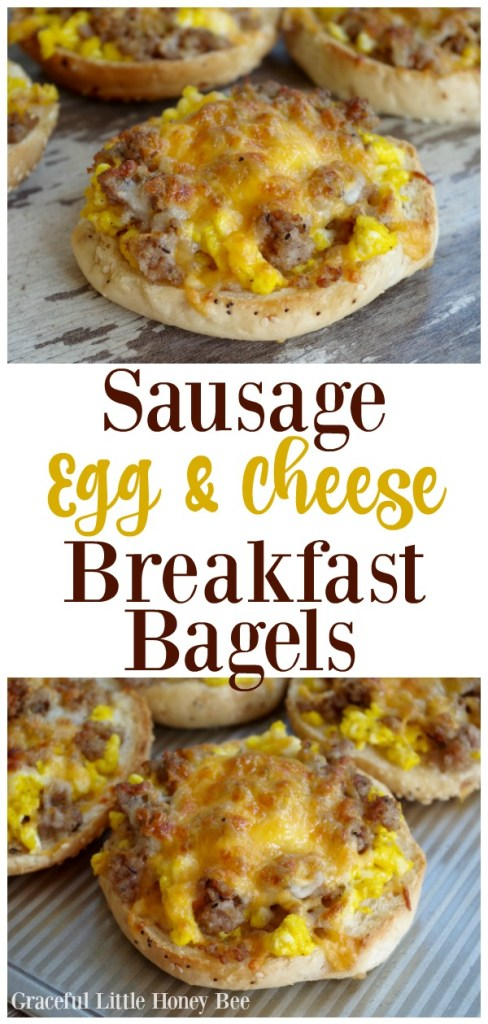 Try these super quick and simple Sausage, Egg & Cheese Breakfast Bagels for a quick and delicious breakfast on gracefullittlehoneybee.com