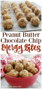 Need an energy boost? You've got to try these super simple and delicious Peanut Butter Chocolate Chip Energy Bites for a quick and healthy snack on gracefullittlehoneybee.com