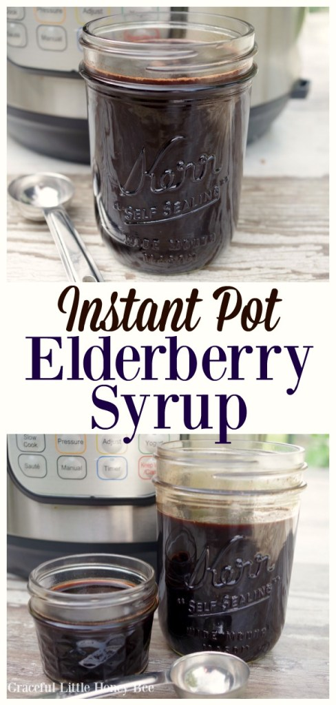 Elderberry Syrup in a mason jar with an Instant Pot in the background.