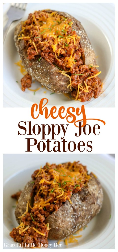 Try this super easy and kid-friendly recipe for Cheesy Sloppy Joe Baked Potatoes that makes a quick weeknight meal!