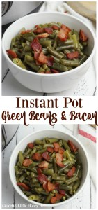 This Instant Pot Green Beans and Bacon recipe is super simple to throw together and makes the perfect healthy side dish for a quick weeknight meal! Find the recipe at gracefullittlehoneybee.com