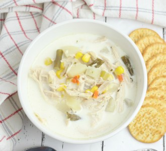 Chicken Pot Pie Soup in a white bowl.