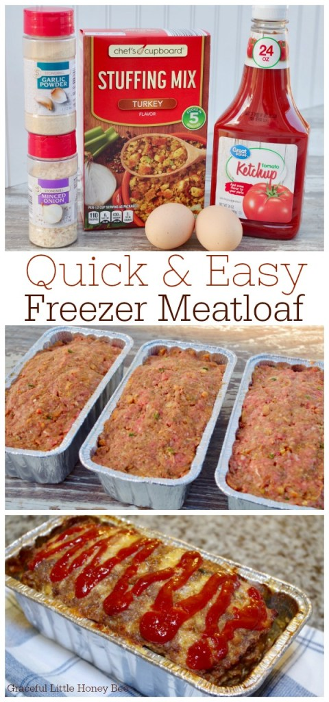 Stock your freezer with this quick and easy freezer meatloaf! It makes a simple freezer meal for busy weeknights. Find the recipe on gracefullittlehoneybee.com