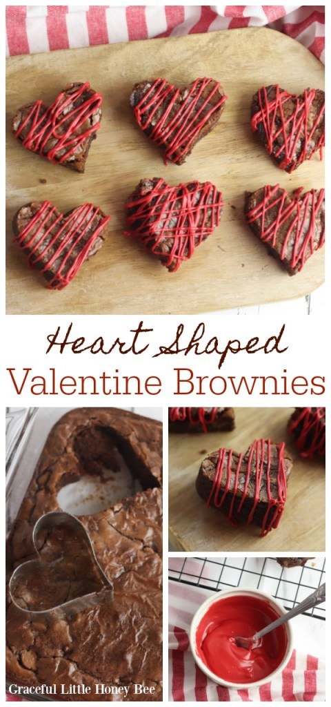 Heart shaped valentine brownies with red icing drizzled on the top.