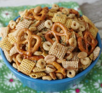 Ranch Party Mix in a blue bowl.
